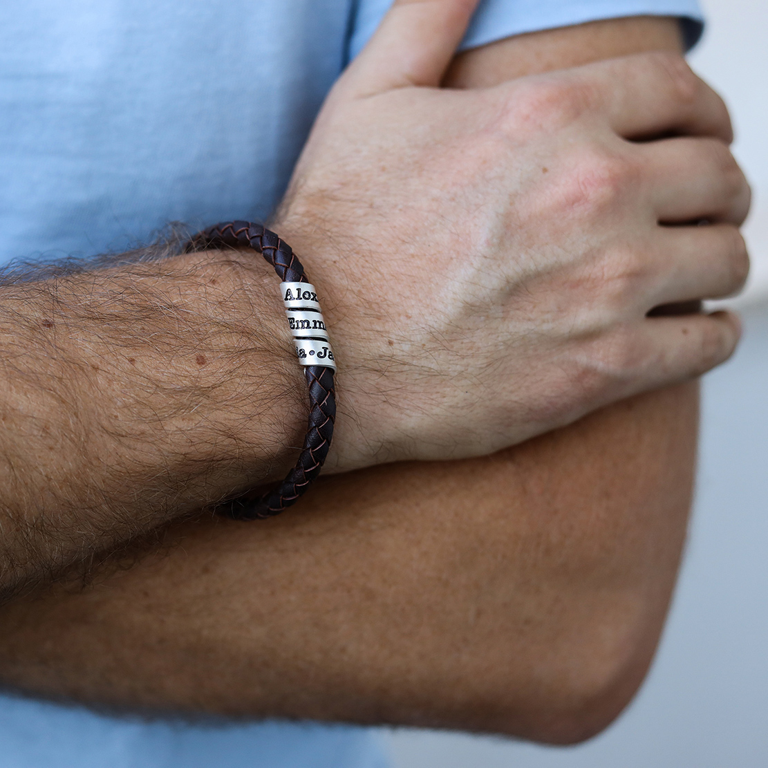 Brown Leather Bracelet With an Engraved Wrap