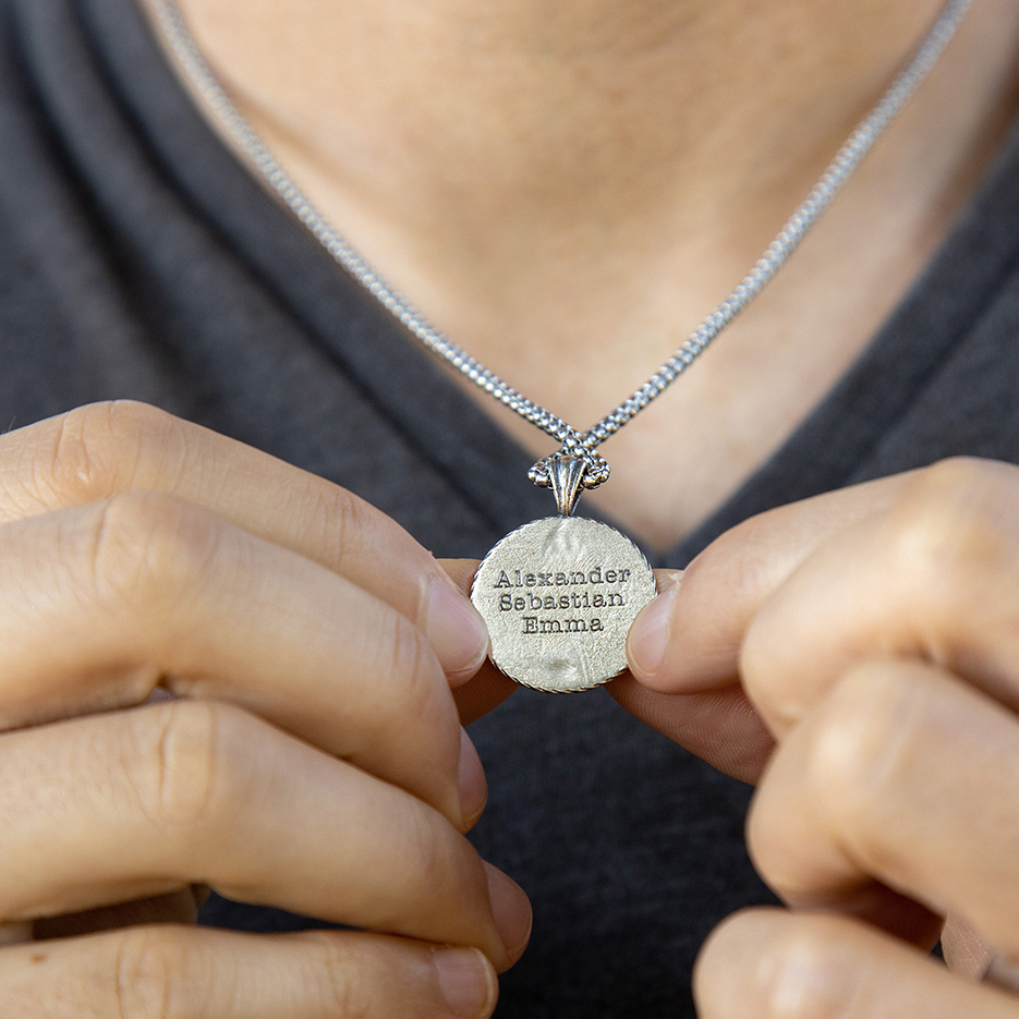 Family Compass Engraved Necklace For Men