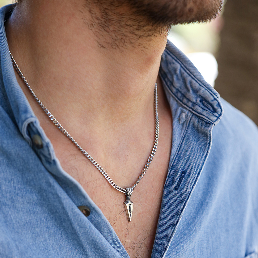 Spearhead Engraved Necklace