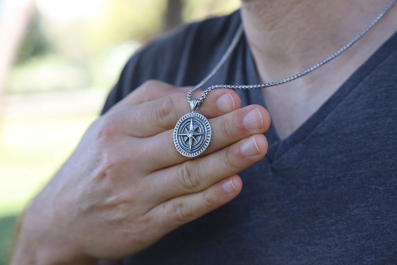 Engraved Silver Pendants For Men