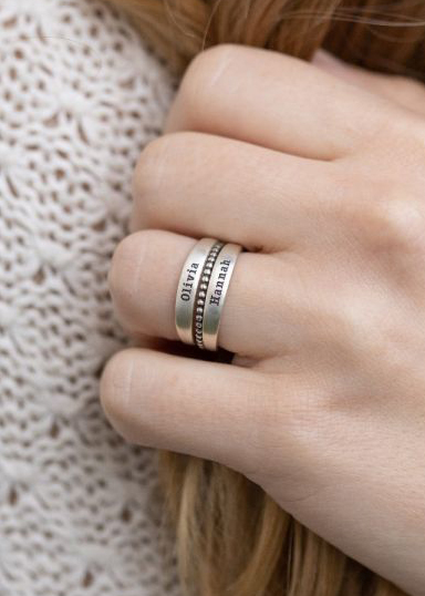 Family Name Rings Stack [Sterling Silver]