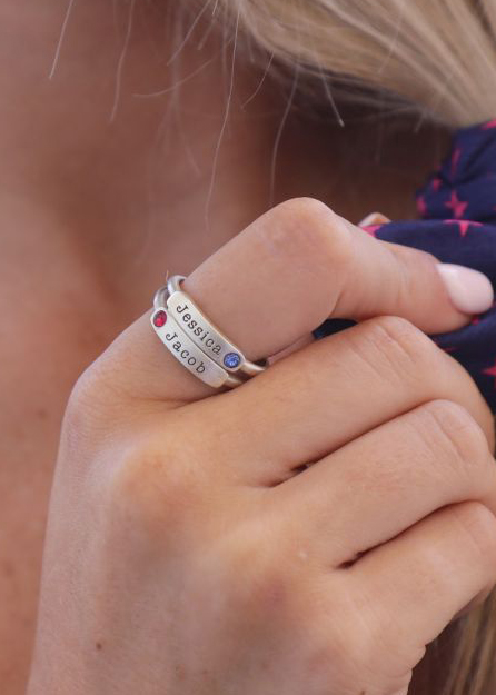 Layers Of Love Name And Birthstone Rings [Sterling Silver]
